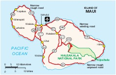 Mapa de la Isla de Maui, Hawái, Estados Unidos