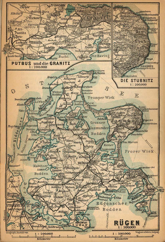 Mapa de la Isla de Rügen, Alemania 1910