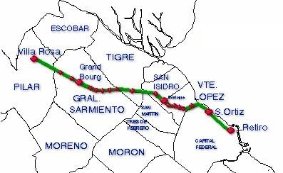 Mapa de la Línea Belgrano Norte, Area Metropolitana de Buenos Aires, Argentina