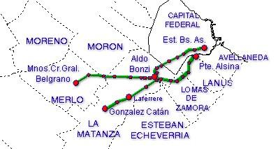 Mapa de la Línea Belgrano Sur, Area Metropolitana de Buenos Aires, Argentina