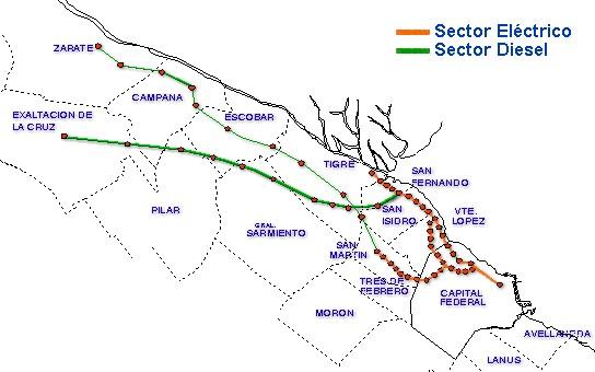 Mapa de la Línea Mitre, Area Metropolitana de Buenos Aires, Argentina