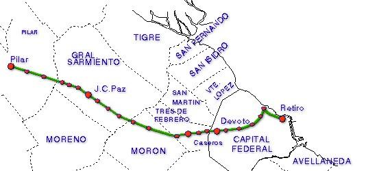 Mapa de la Línea San Martín, Area Metropolitana de Buenos Aires, Argentina