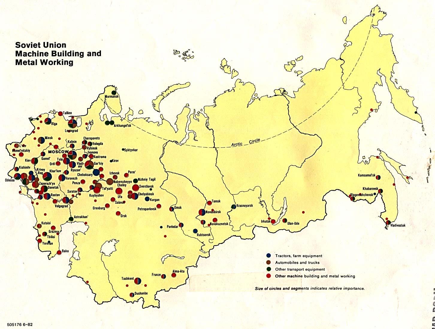 Mapa de la Metalurgia y de las Construcciónes de Máquinas en la ex Unión Soviética