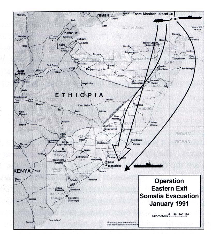 Mapa de la Operacion Eastern Exit, Somalia