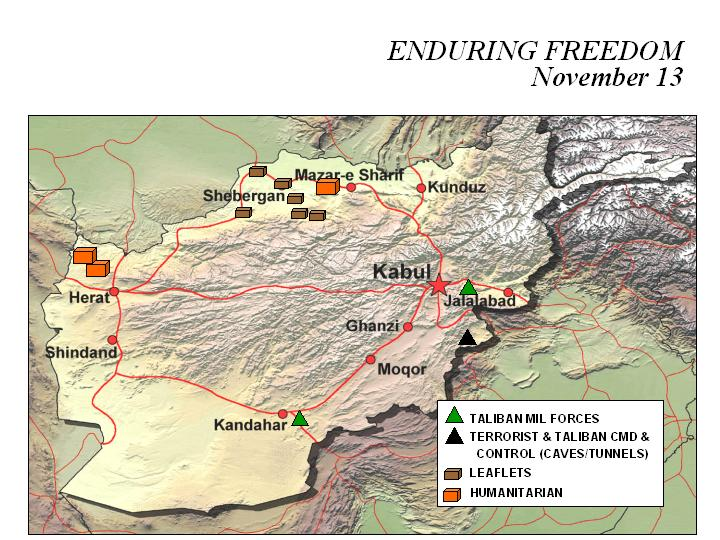 Enduring Freedom Map, Afghanistan 13 November 2001