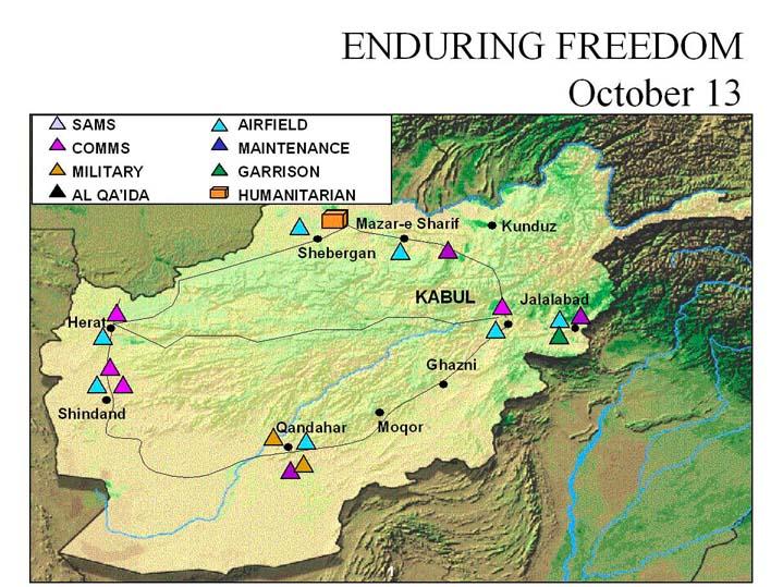 Enduring Freedom Map, Afghanistan 13 October 2001