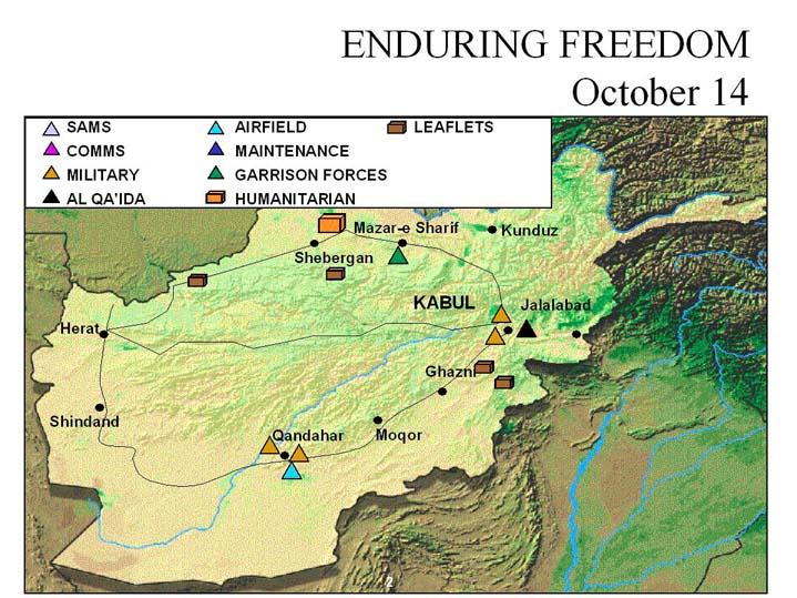 Enduring Freedom Map, Afghanistan 14 October 2001