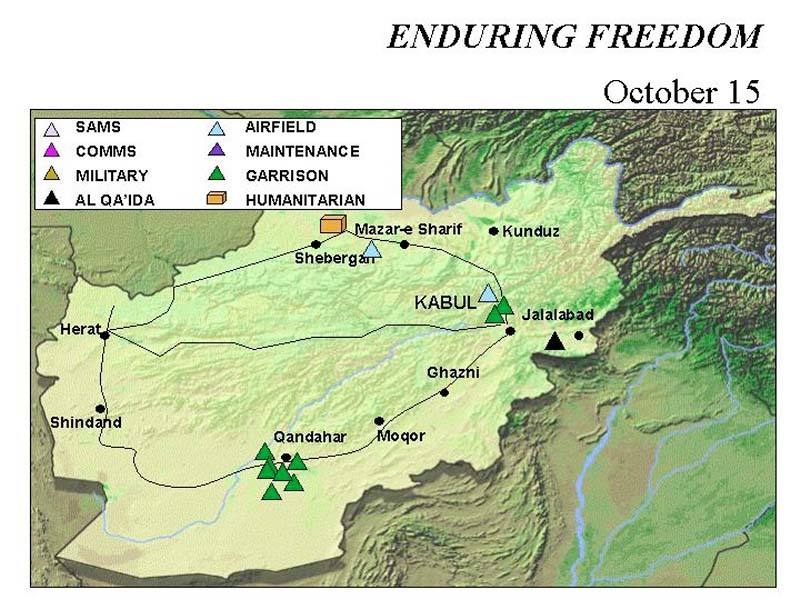 Enduring Freedom Map, Afghanistan 15 October 2001