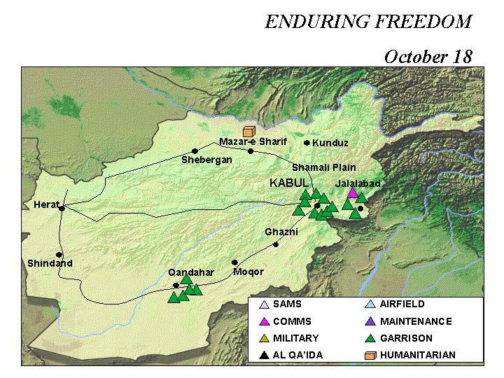 Mapa de la Operación Enduring Freedom, Afganistán 18 Octubre 2001