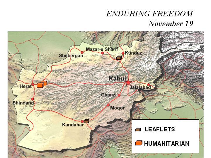 Mapa de la Operación Enduring Freedom, Afganistán 19 Noviembre 2001