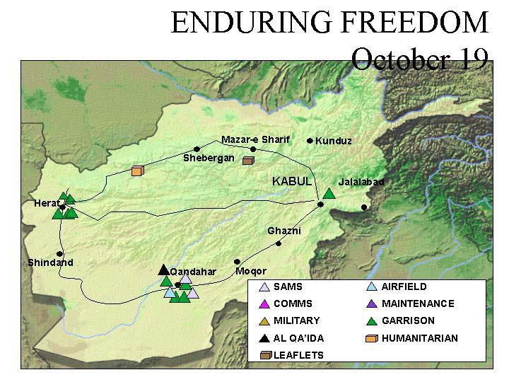 Mapa de la Operación Enduring Freedom, Afganistán 19 Octubre 2001