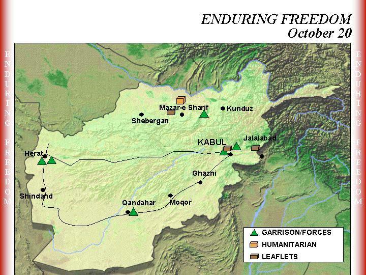 Mapa de la Operación Enduring Freedom, Afganistán 20 Octubre 2001