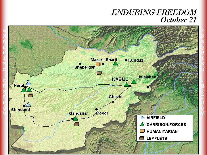 Enduring Freedom Map, Afghanistan 21 October 2001