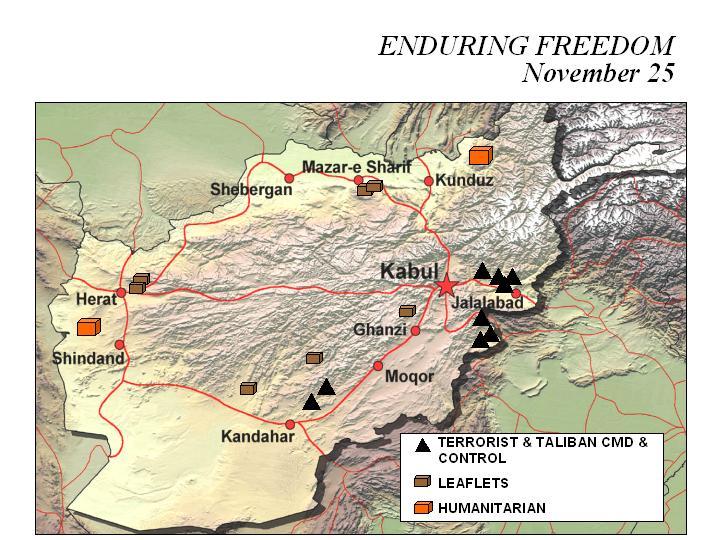 Mapa de la Operación Enduring Freedom, Afganistán 25 Noviembre 2001