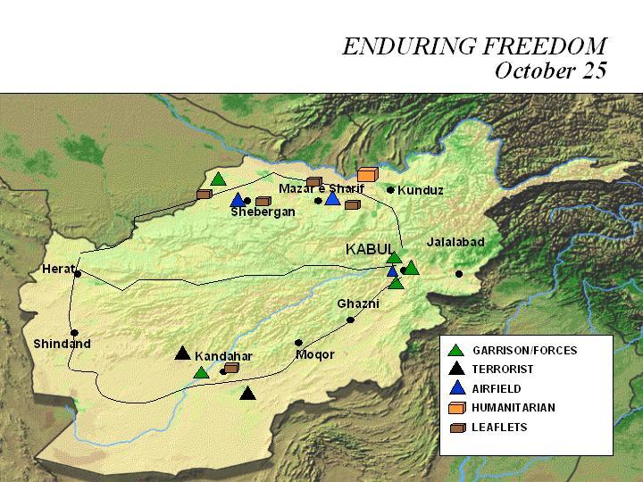 Mapa de la Operación Enduring Freedom, Afganistán 25 Octubre 2001