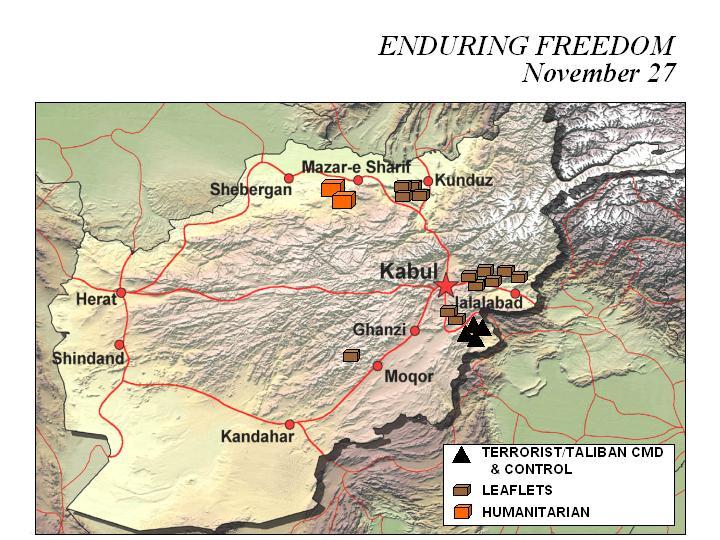 Mapa de la Operación Enduring Freedom, Afganistán 27 Noviembre 2001