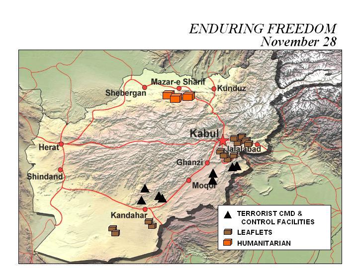 Mapa de la Operación Enduring Freedom, Afganistán 28 Noviembre 2001