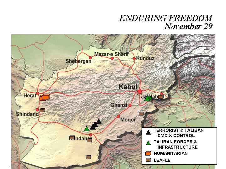Mapa de la Operación Enduring Freedom, Afganistán 29 Noviembre 2001