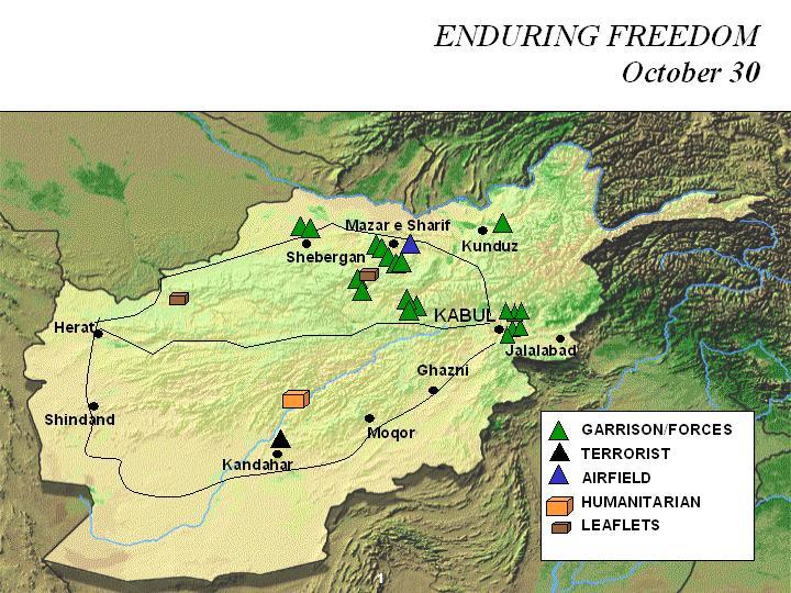 Enduring Freedom Map, Afghanistan 30 October 2001