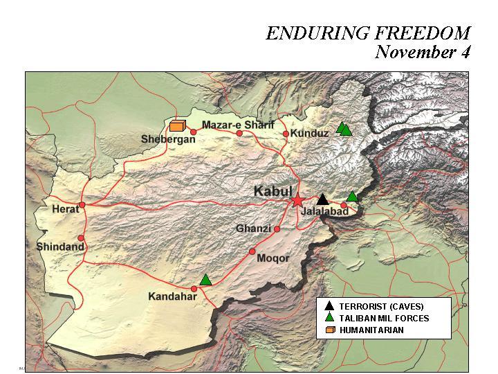 Enduring Freedom Map, Afghanistan 4 November 2001