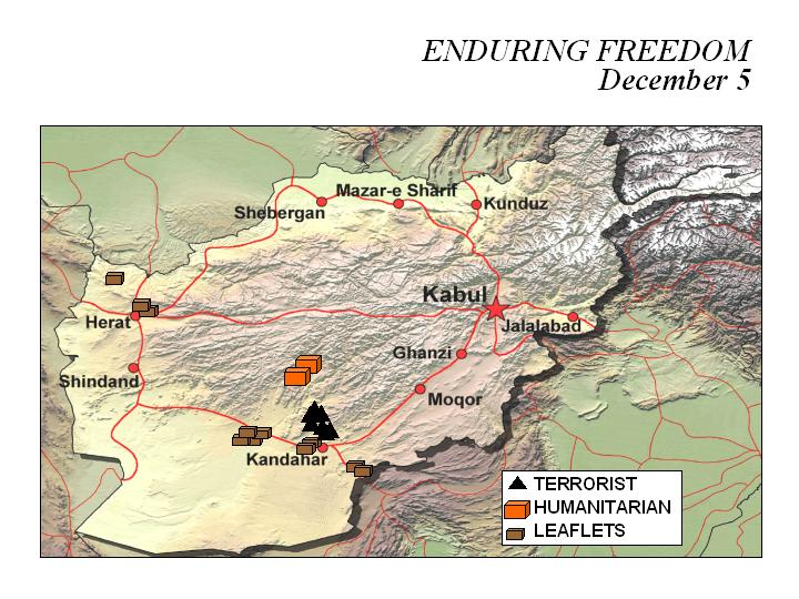 Enduring Freedom Map, Afghanistan 5 December 2001