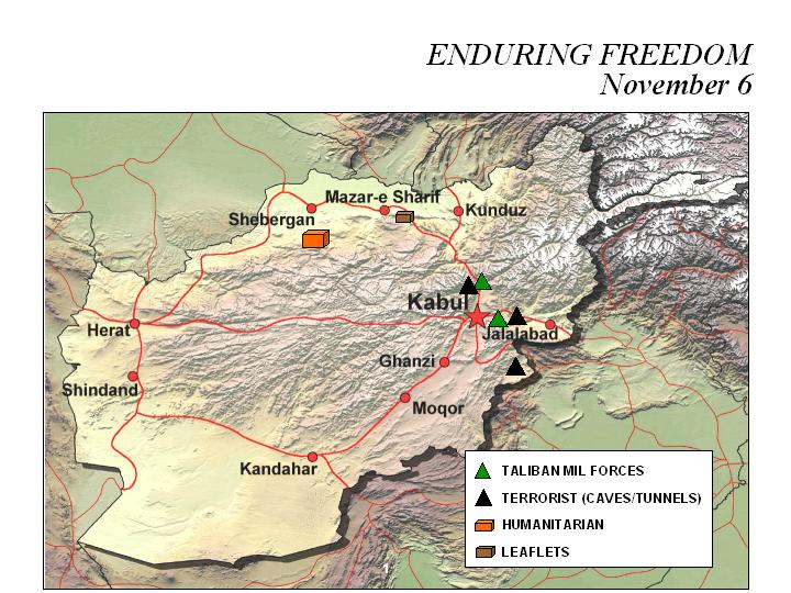 Mapa de la Operación Enduring Freedom, Afganistán 6 Noviembre 2001