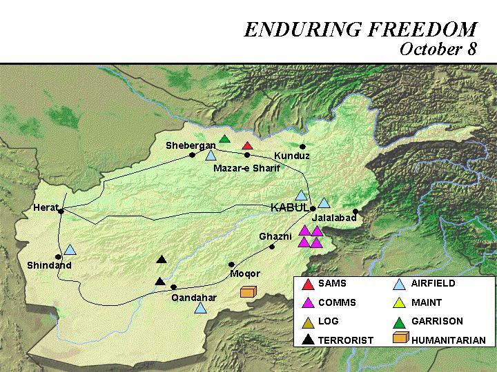 Enduring Freedom Map, Afghanistan 8 October 2001