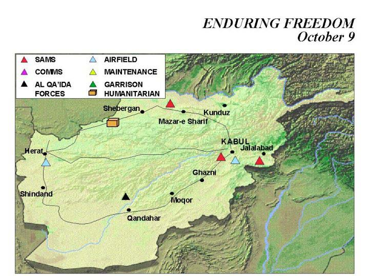 Mapa de la Operación Enduring Freedom, Afganistán 9 Octubre 2001