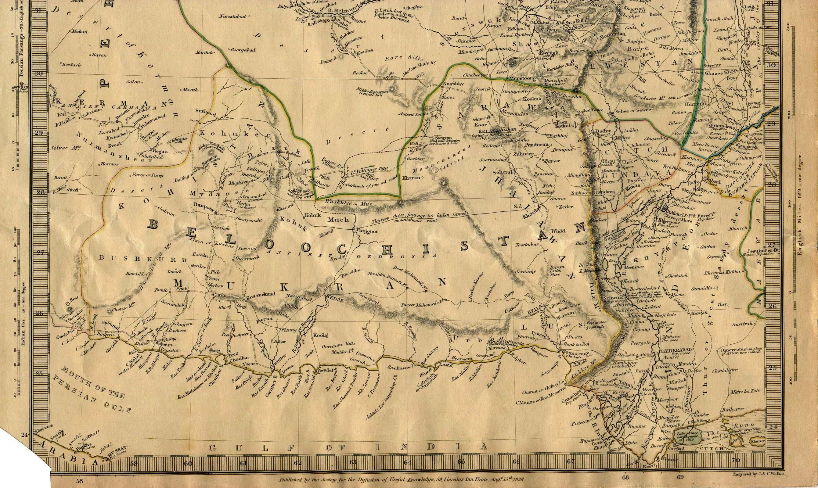 Mapa de la Parte Sur de Bokhara, Cabool, Beloochistan, 1838.