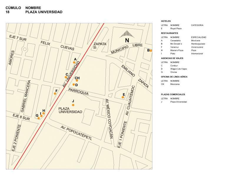 Mapa de la Plaza Universidad, Mexico D.F.