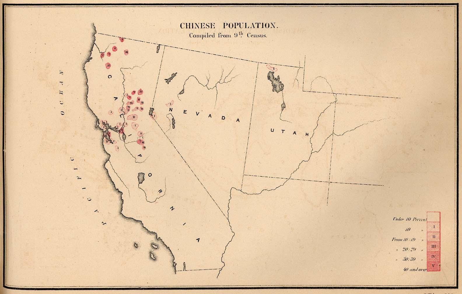 Mapa de la Población China en Estados Unidos 1872