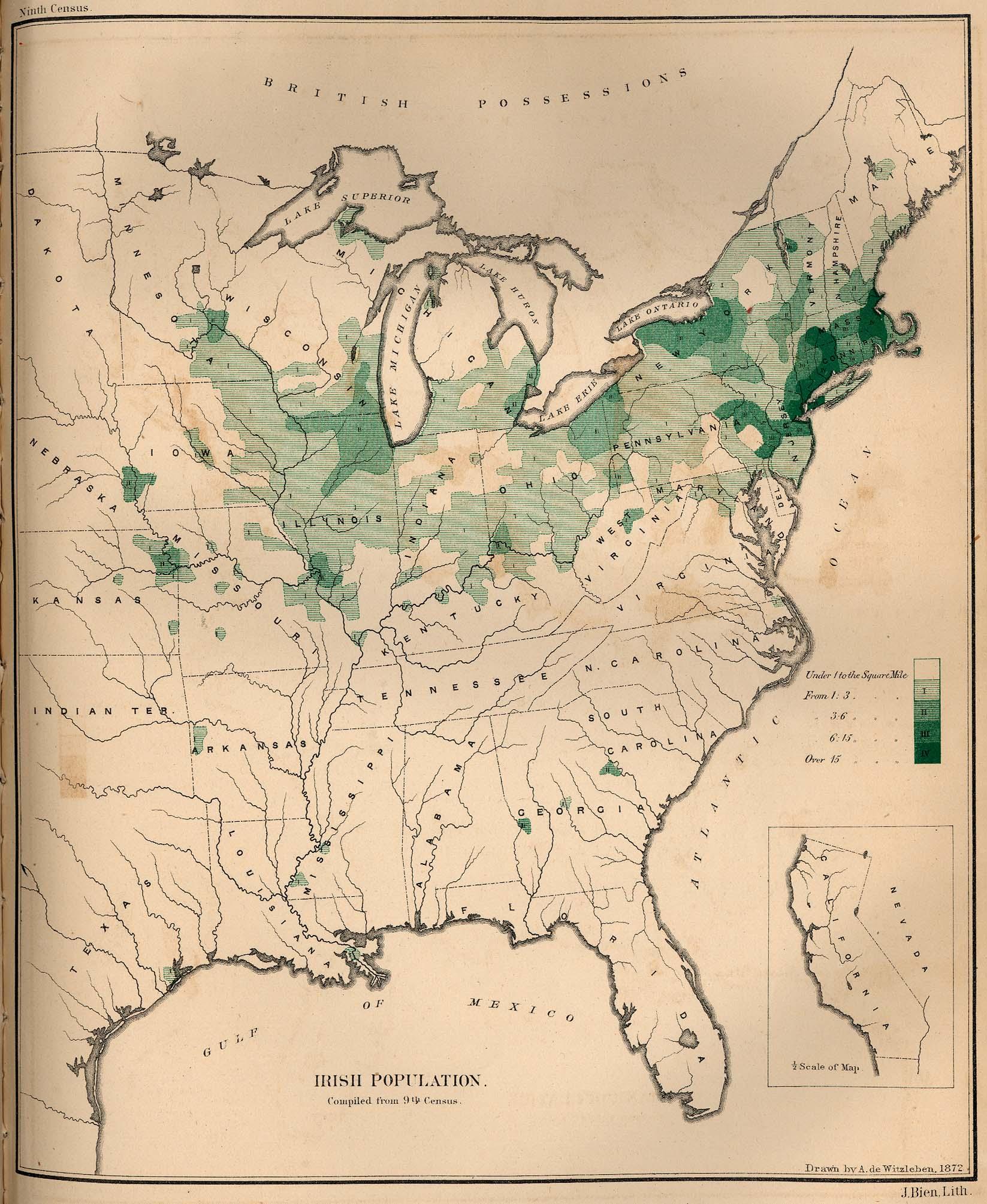 Mapa de la Población Irlandesa en los Estados Unidos 1872