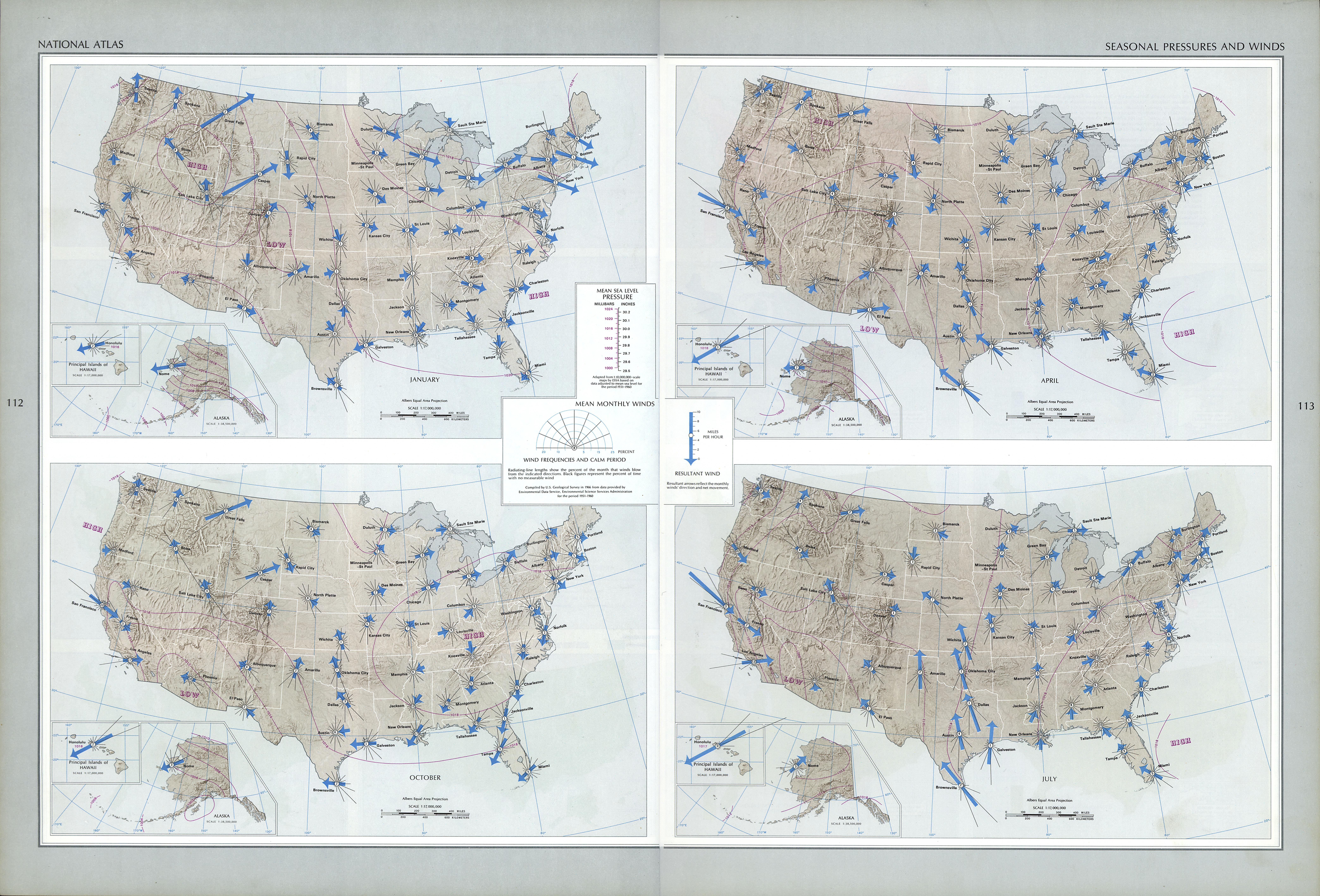 Mapa de la Presión y de los Vientos Estacionales en Estados Unidos