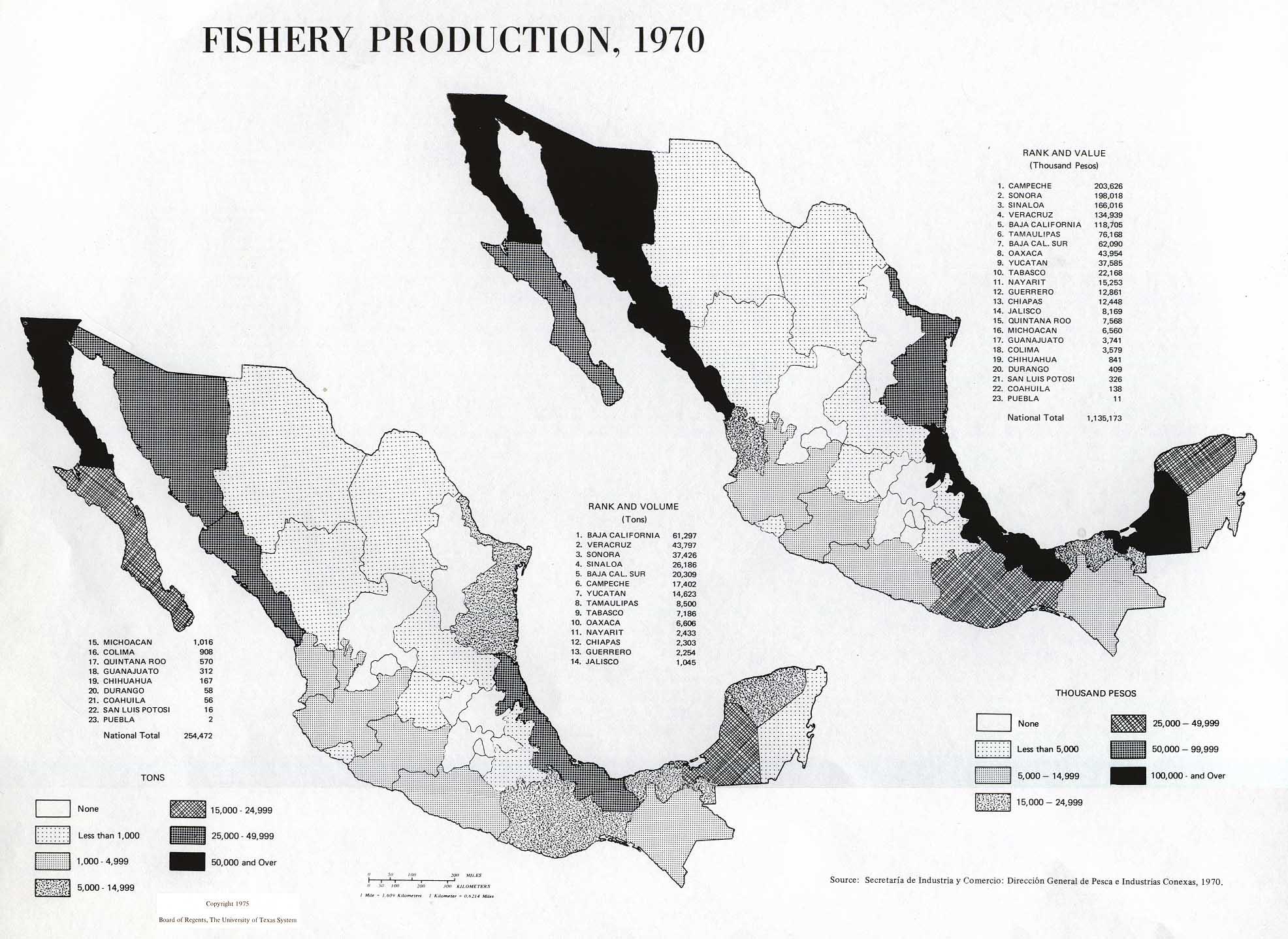 Mapa de la Producción de Pesca y Acuicultura, México 1970