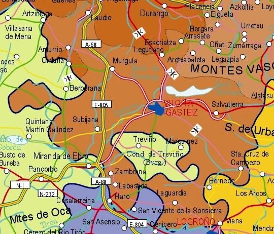Mapa de la Provincia Alava, Pais Vasco, España