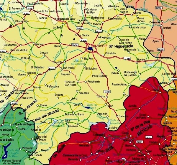 Mapa de la Provincia Albacete, España