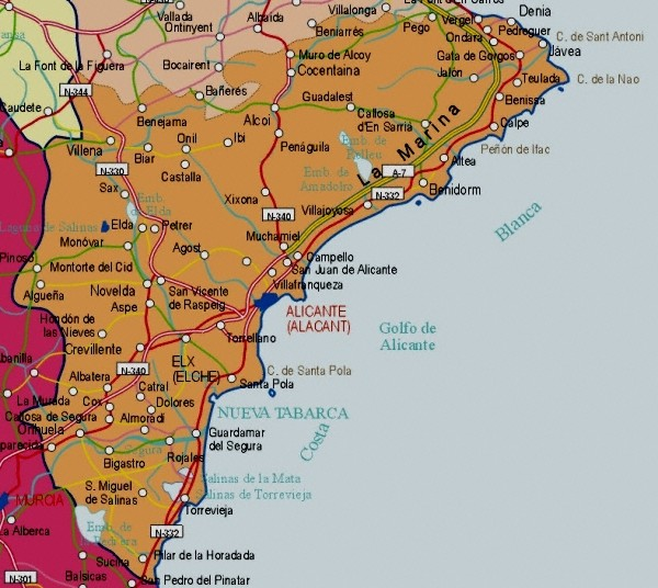 Map of Alicante Provincia, Valencian Autonomous Community, Spain