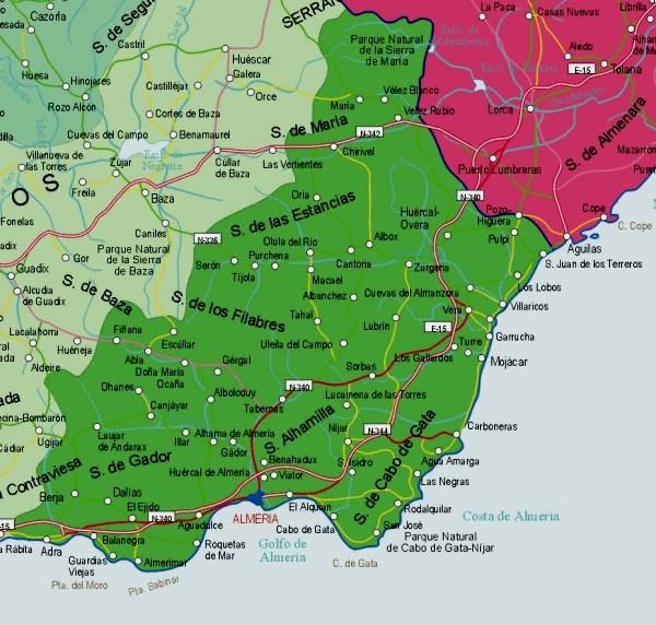 Mapa de la Provincia Almeria, España