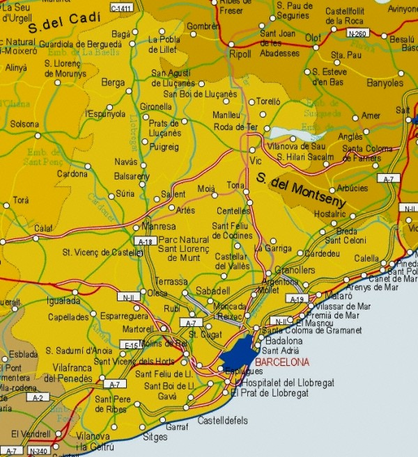 Map of Barcelona Provincia, Spain