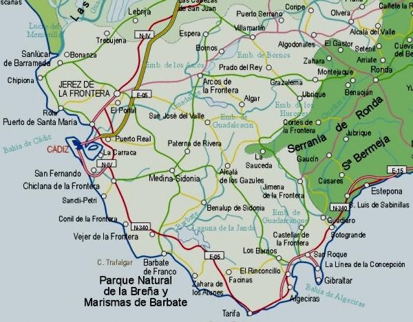 Mapa de la Provincia Cadiz, España