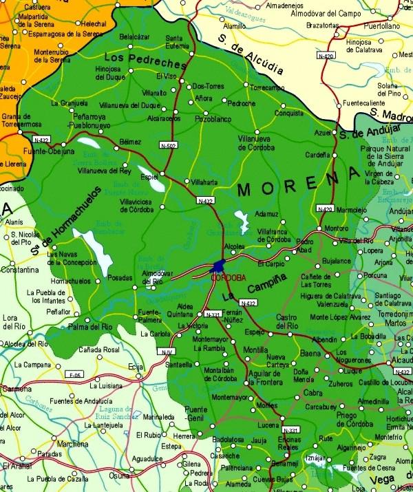 Map of Córdoba Provincia, Spain
