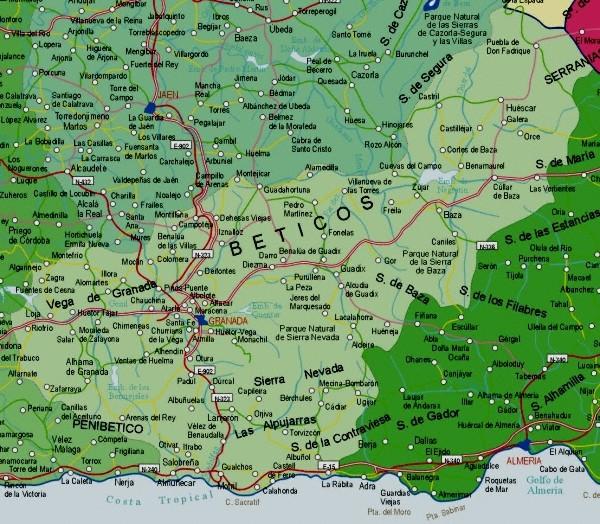 Map of Granada Provincia, Spain