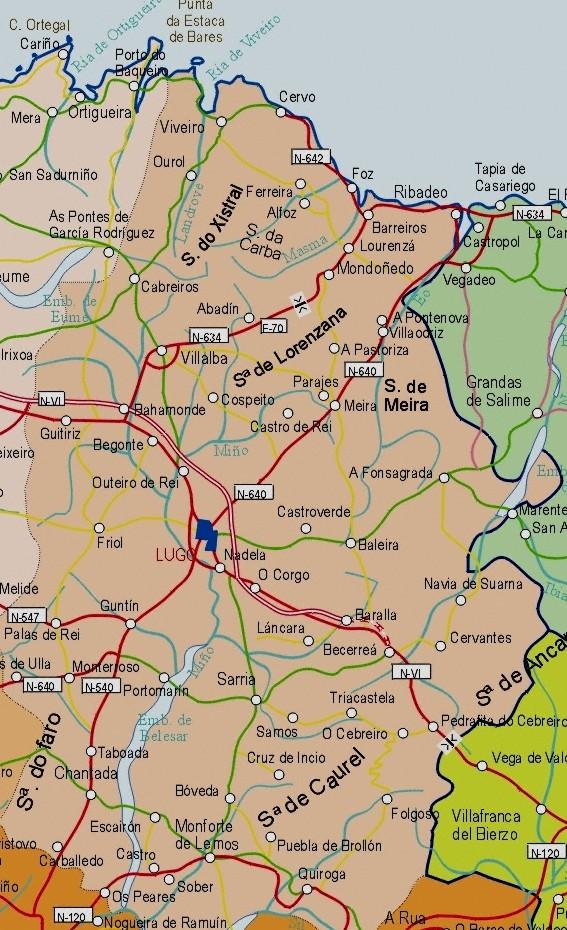 Mapa De La Provincia Lugo Espana Mapa Owje Com