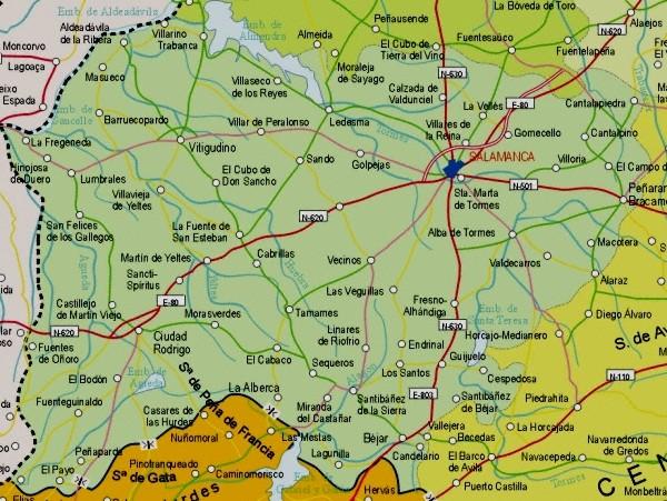 Mapa de la Provincia Salamanca, España