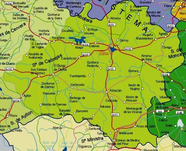 Mapa de la Provincia Soria, España