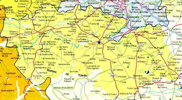 Map of Toledo Provincia, Spain