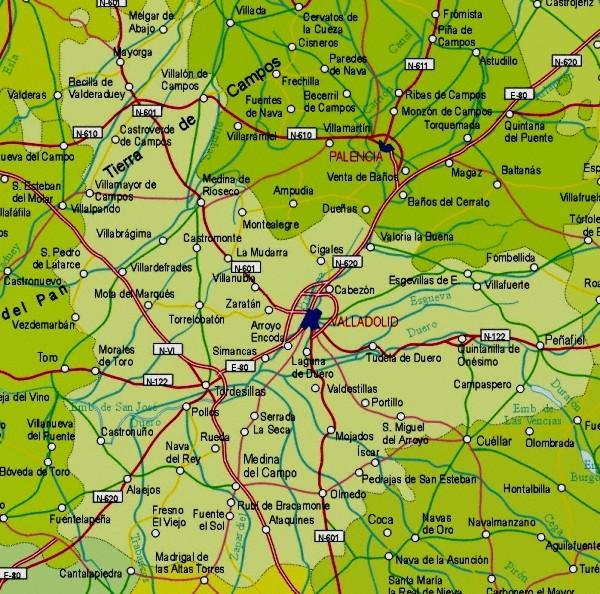 Map, Valladolid Provincia, Castilla y León, Spain