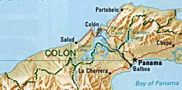 Mapa de la Provincia de Colón, República de Panamá