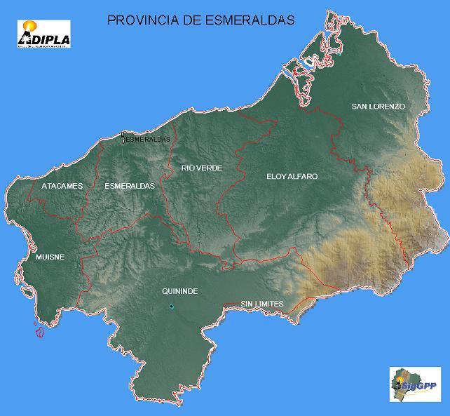Mapa de la Provincia de Esmeraldas, Ecuador