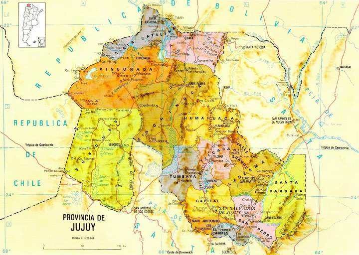 Mapa de la Provincia de Jujuy, Argentina